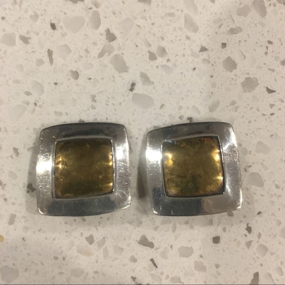 9f5d59abee5 JEEP COLLINS clip earrings square clip on sterling